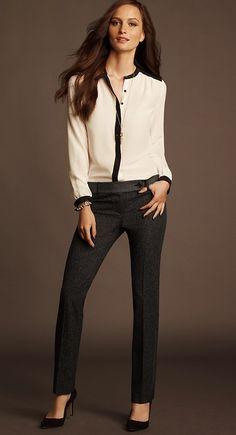Look chic in this sexy office wear outfit. The high heels make the wearer look tall and sexy Chic Office Outfit, Office Fashion, Office Outfits, Work Fashion, Fashion Outfits, Womens Fashion, Fashion Trends, Office Wear, Office Uniform