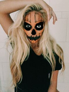 Halloween makeup, scary, jack'o lantern, pumpkin