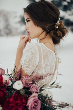 Hair and makeup by Steph. Hair accessory from HMS shop. Photos by Kelsie Emm. Dress by Natalie Wynn. Flowers by Mae Flower. Model:...