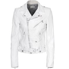 EACH OTHER Crinkled White Biker leather jacket (24,080 PHP) ❤ liked on Polyvore featuring outerwear, jackets, leather jackets, tops, biker jacket, 100 leather jacket, slim biker jacket and slim fit leather jacket