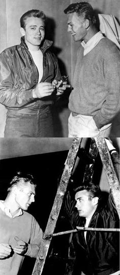 James Dean & Tab Hunter -- Jimmy standing under his bad luck (the ladder) Hooray For Hollywood, Hollywood Star, Golden Age Of Hollywood, Classic Hollywood, James Dean, Tab Hunter, Indiana, East Of Eden, Actor James