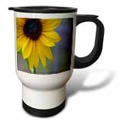 A Bright Yellow Sun Flower up Close With Lots of Texture in the Center and Blues in the Background Travel Mug