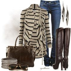 Tan Striped Cardigan :)