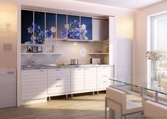 #Kitchen of the Day: Modern white kitchens. Photo printed cabinets with blue flowers.