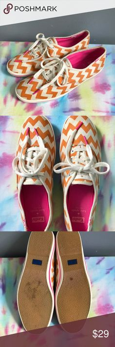 kate spade Ked Women's Sneakers Super cute kate spade Keds Chevron Print sneakers. Orange and pink ......how cool is that. With the silver Spade on the back. kate spade Shoes Athletic Shoes