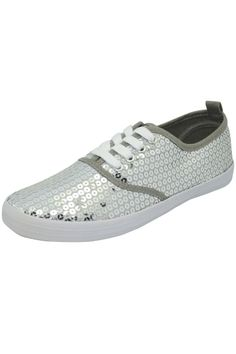 Silver Shining Sequined Lace-Up Sneakers
