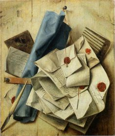 """Trompe l'oeil, Quodlibet  by Cornelis Norbertus Gysbrechts   1675  oil on canvas  A quodlibet (Latin for """"what pleases"""") is a piece of music combining several different melodies, usually popular tunes, in counterpoint and often a light-hearted, humorous manner."""