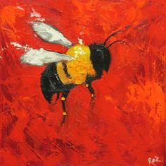 Bee painting 264 12x12 inch insect animal portrait par RozArt, $85.00