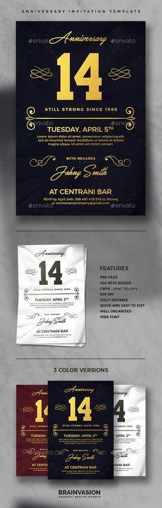 Anniversary Invitation Template PSD Card \ Invite Design - anniversary invitation template