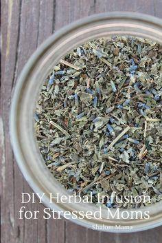 DIY Herbal Infusion for Stress | Shalom Mama - red raspberry leaves, lemon balm, nettle leaves, lavender