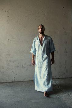 Texture décontractée pour homme pur lin caftan. Couleur bleu