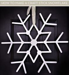 How To Make A Craft Stick Snowflake...put on top of leafy wreath for a winter…