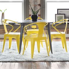 Tabouret Lemon Metal Stacking Chairs (Set of by I Love Living Yellow Dining Chairs, Metal Dining Chairs, Dining Room Bar, Best Dining, Dining Arm Chair, Modern Dining Chairs, Kitchen Chairs, Porch Chairs, Eames Chairs