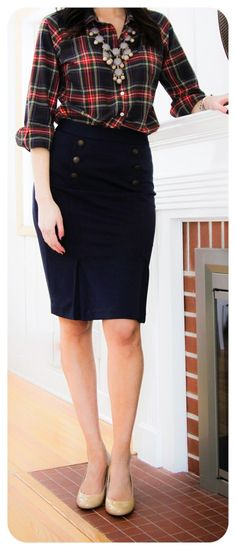 Fall plaid skirt, bold necklace, deep navy pencil skirt with button accents