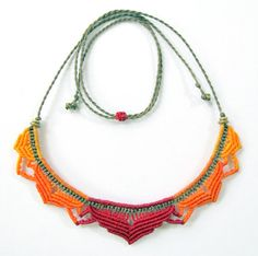 Macrame lotus necklace - statement necklace - micro macrame flower necklace…