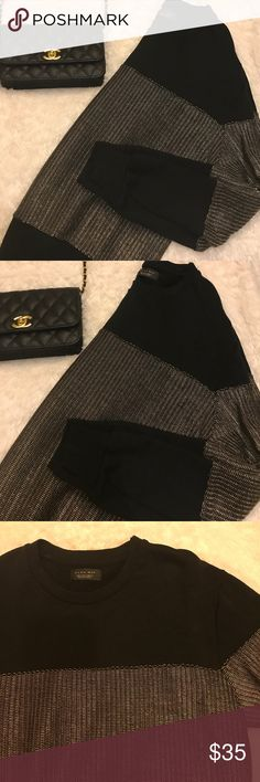 Gold and Black Stripes Sweatshirt Fashionable gold and black zara striped sweatshirt. Sweatshirt is in new condition fits smaller than an actual large. Is technically Zara Man but definitely has a more female fit to it. Zara Tops Sweatshirts & Hoodies
