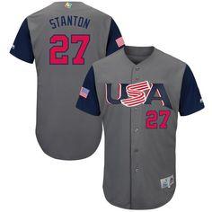 b5dce55db81 Men s USA Baseball Giancarlo Stanton Majestic Gray 2017 World Baseball  Classic Authentic Jersey