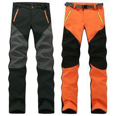 Mens Outdoor Sport Pants Elastic Soft Shell Warm Fleece Lined Vivid Color Waterproof Trouser is Durable