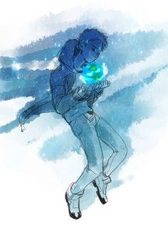 Lance and the blue and green planet of Earth from Voltron Legendary Defender