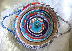 HANDMADE COTTON FABRIC COILED BASKET ROPE QUILTED MULTI COLOR HOME DECOR PLATE