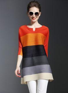 Lässige Kleidung 3/4 Ärmel Streifen Polyester Rundhals Hemden (1141083)