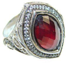 $79.25 Lovely!! 25ct. Garnet & 2ct. Diamond Sterling Silver ring s. 9 at www.SilverRushStyle.com #ring #handmade #jewelry #silver #garnet