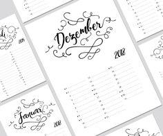 Kalendereinlagen 1 Monat/1 Seite passenden für den Filofax A4, A5, Personal und Pocket, Layout PUSLO