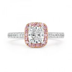 A stunning pink diamond halo engagement ring for the modern bride, featuring the popular cushion cut center. Pink Diamond Ring, Halo Diamond Engagement Ring, Diamond Bands, Diamond Cuts, Engagement Rings, Cushion Cut Halo, Cushion Cut Diamonds, Solid Gold, White Gold