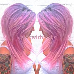 Hair by Franke Kurucz at Untamed Hair Studio. Silver, lavender and pastel pink color melt ombré hair with Pravana.