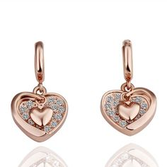 delatcha Heart Earring Rose Gold Plated Stud Earrings For Women Bijoux Crystal Zirconia Brinco Ouro Ear Cuff Earings Fashion Jewelry E048 >>> You can get more details by clicking on the image. Note:It is Affiliate Link to Amazon.