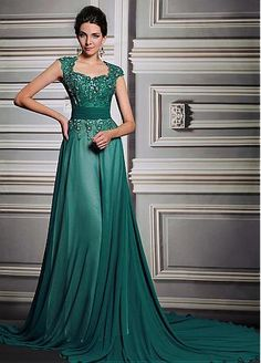 In Stock Luxury Lace Net & Georgette Tulle Square Neckline A-Line Formal Dresses  #selectprom
