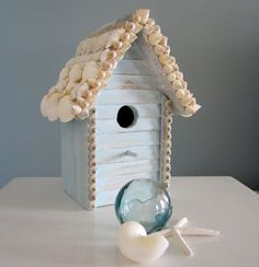 Beach Decor Seashell Birdhouse - Nautical Decor Shell Bird House, Light Aqua. $35.00, via Etsy.
