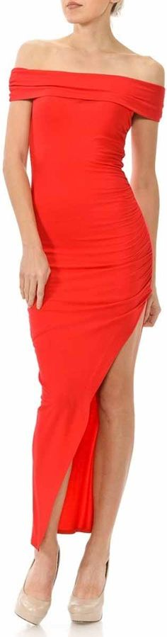 This special order style requires additional processing time and will arrive approximately 2 to 3 weeks after your order is placed.  He will be giving you the bedroom eyes all night long when you step out in this flawless dress! This fierce dress features: an off-the-shoulder neckline, short sleeves, a maxi cut, a dramatic slit at the side, ruching detail at either side, with a pull-on, bodycon fit.  Color: Red  Fabric:Polyester Cotton Blend  Size Small is designed to fit sizes 2;3; or 4…