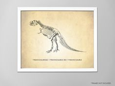 Listing is for Tyrannosaurus Rex (Horizontal) art print.  ============== Details, Details ================  ➔ Select your desired size from the drop-down menu above the Add To Cart button.  ➔ Professionally printed with fade-resistant ink on a heavyweight, lightly-textured, matte white stock.  ➔ All of our prints include a small (approx. 1/...