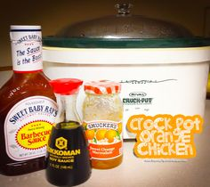 Easy crock pot orange chicken--cook the chicken, add c. BBQ sauce, c. Orange marmalade, 2 T. Crock Pot Food, Crockpot Dishes, Crock Pot Slow Cooker, Slow Cooker Recipes, Crockpot Recipes, Cooking Recipes, Chicken Recipes, My Recipes, Favorite Recipes