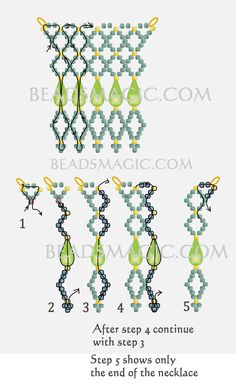 Free pattern for beaded necklace Gimlet with drops beads U need: seed beads 11/0 drops