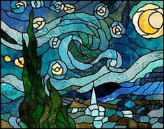 """Boehm Stained Glass Blog: Next project: """"Starry Night"""" by Vincent Van Gogh - pattern by Chantal Pare. #StainedGlassDrawing"""