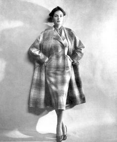 Fiona Campbell-Walter in wool plaid ensemble by Charles Creed, photo by Gene Fenn, 1952