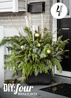 xmas flower pots made from birch log | DIY 04: Winter Planter - The Uncommon Common Law