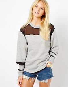 Free Shipping 2014 hollow-out stitching loose perspective leisure streets of round collar fleece $33.70