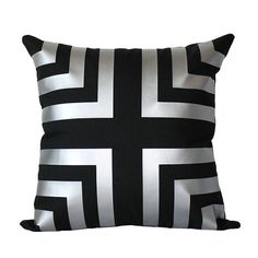 Metallic Silver Chevron Stripe Pillow Cover by KyleWayneTaylorHome, $34.95