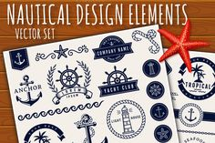 Ad: Sea and nautical design elements. by JuliaMalinovskaya on Vector collection of graphic embellishments for sea, tropical vacation, travel and nautical themes. The kit contains: text dividers, Corporate Identity Design, Nautical Design, Nautical Theme, D House, Wooden Textures, Unique Logo, Creative Sketches, Paint Markers, Pencil Illustration