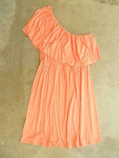 Sweet Ruffled Apricot Dress