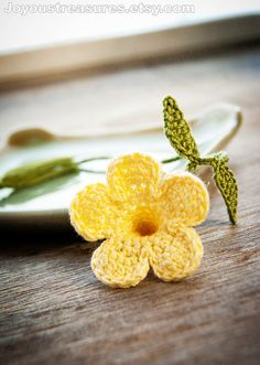 Handmade Flower Bookmark Crochet Yellow Trumpet by joyoustreasures, $14.00