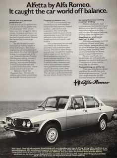 """This is an original 1976 ad for the Alfa Romeo Alfetta sports car ÐÐ""""the world's first truly balanced production car"""" for the """"uncommonly reasonable"""" price of $7,235. CONDITION This 35+ year old Item"""