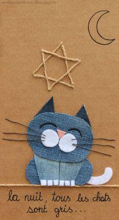 La nuit tous les chats sont gris ! #recyclage #jeans http://pinterest.com/fleurysylvie/mes-creas-la-collec/ et www.toutpetitrien.ch