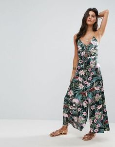 ASOS Cami Satin Jumpsuit with Lace Up Front in Floral Print