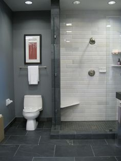 Gorgeous bathroom with glass-wall shower. Note the simple toilet area with glass side wall; angled seat in shower; shower-floor threshold; tile colors and sizes in different areas.