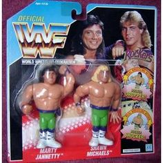 WWF, The Rockers Shawn Michaels and Marty Jannetty have the toy, but sure did love the Rockers. Shawn Michaels was my fav and Marty Jannetty was Christy's. Retro Toys, Vintage Toys, Retro Games, Wwf Toys, Marty Jannetty, Wwf Hasbro, Wwe Action Figures, Old School Toys, Wwe Elite