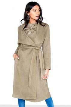Khaki Suedette Coat